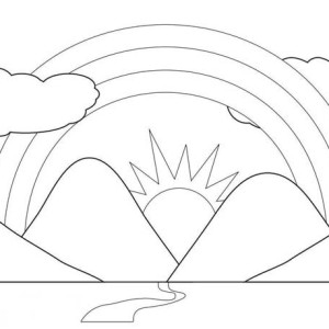 300x300 A Kids Drawing Of Rainbow Over The Clouds Coloring Page A Kids