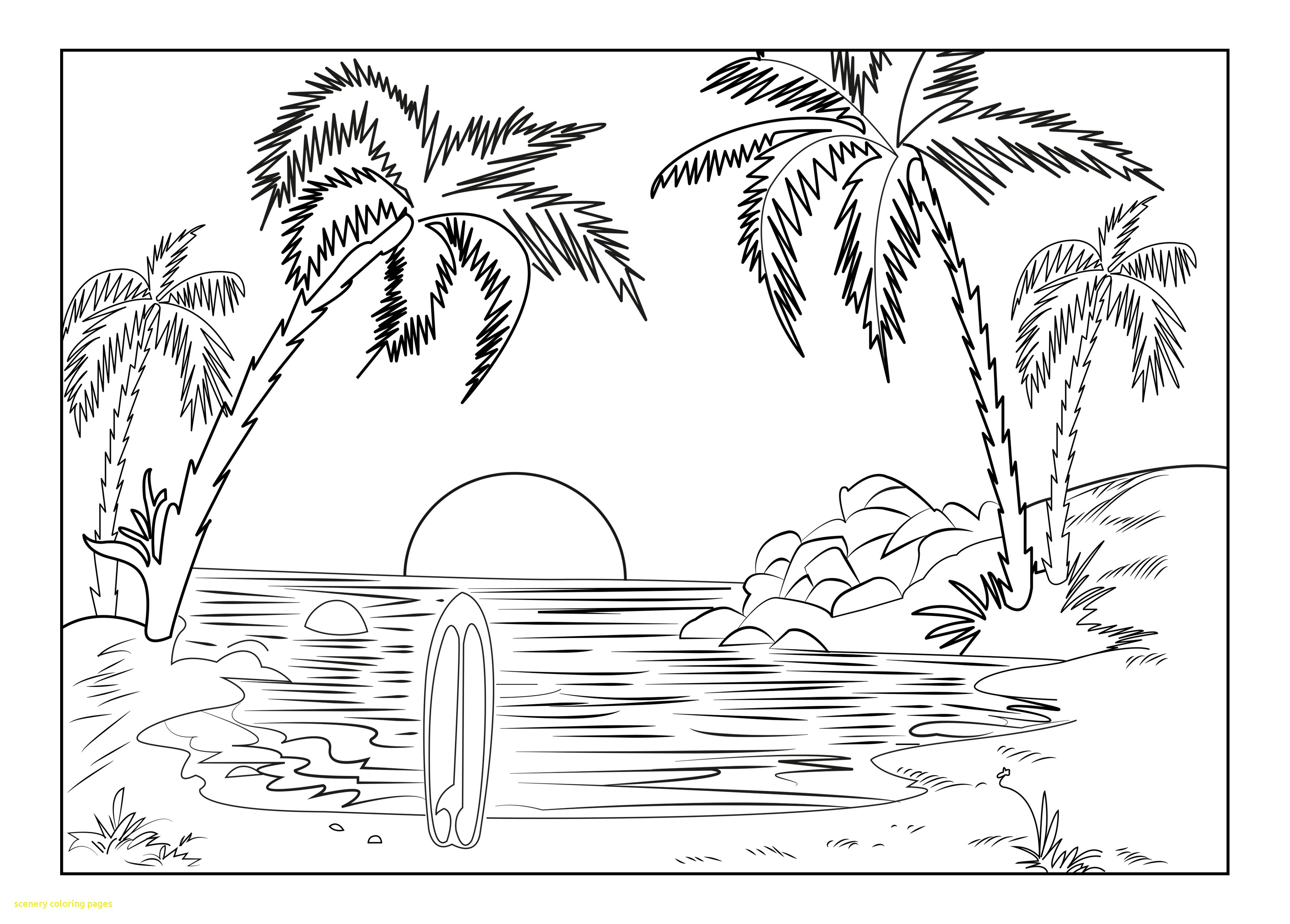 3625x2598 Scenery Coloring Pages