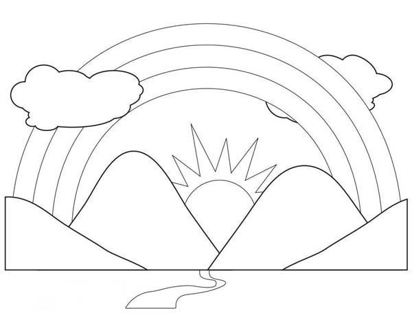 600x459 A Scenic View Of Rainbow Behind The Mountains Coloring Page