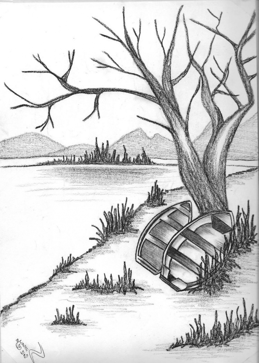 1025x1439 Drawing Of Natural Scenery Sunrise With Pencil Drawn Scenic