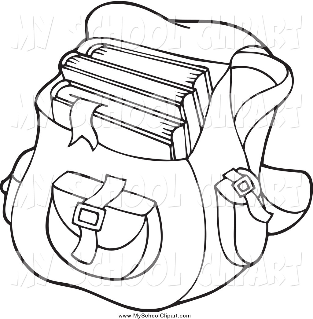 1024x1044 Clip Art Of A Black And White Backpack School Bag By Visekart