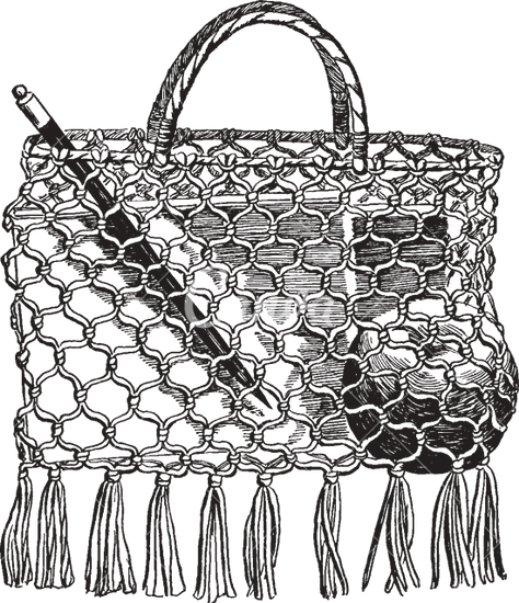 474x550 A School Bag Make Of String Vintage Engraving
