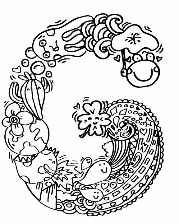 576x720 Alphabet G Doodle Art
