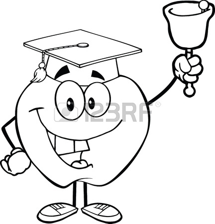 432x450 Outlined Smiling Apple Character Ringing A Bell For Back To School