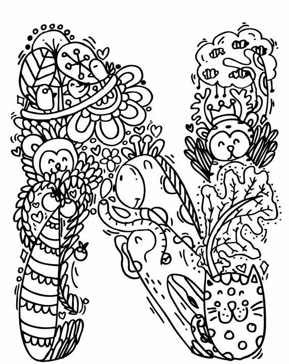 571x720 Alphabet N Doodle Art
