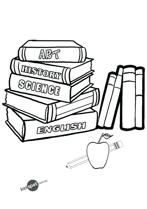 600x850 Books For Coloring And Book For Coloring A Pile Of School Books