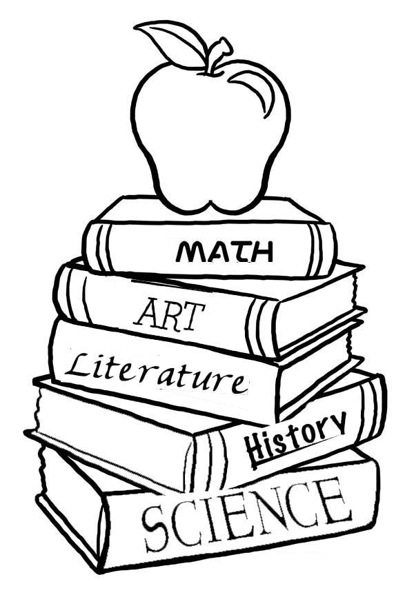 600x879 A Pile Of School Books For The First Day Coloring Page