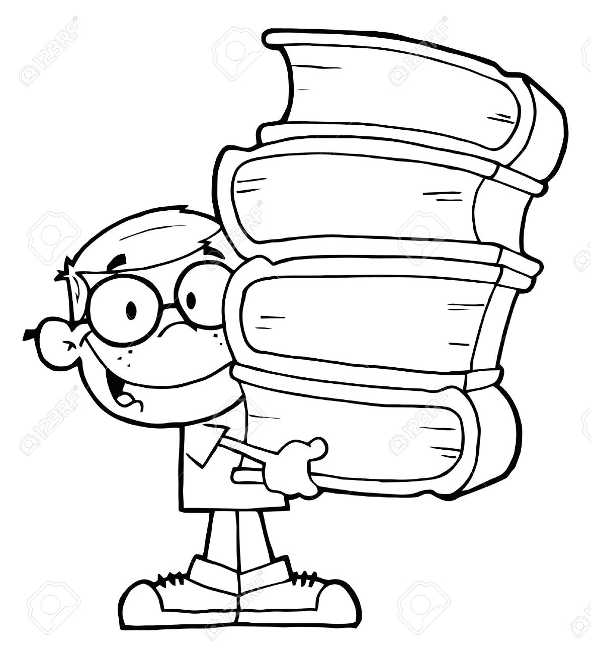 1175x1300 Smart School Boy Carrying A Stack Of Books Royalty Free Cliparts