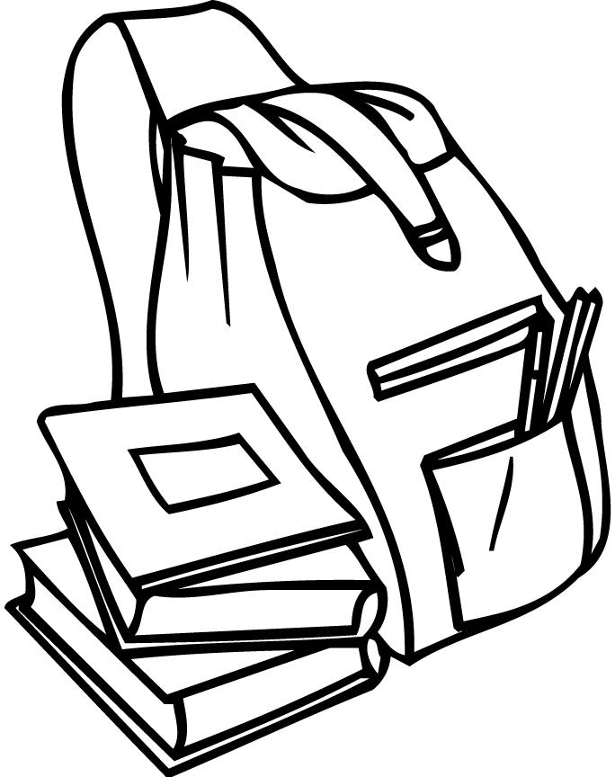 684x864 Coloring Page Of A Backpack And Books For Preschoolers
