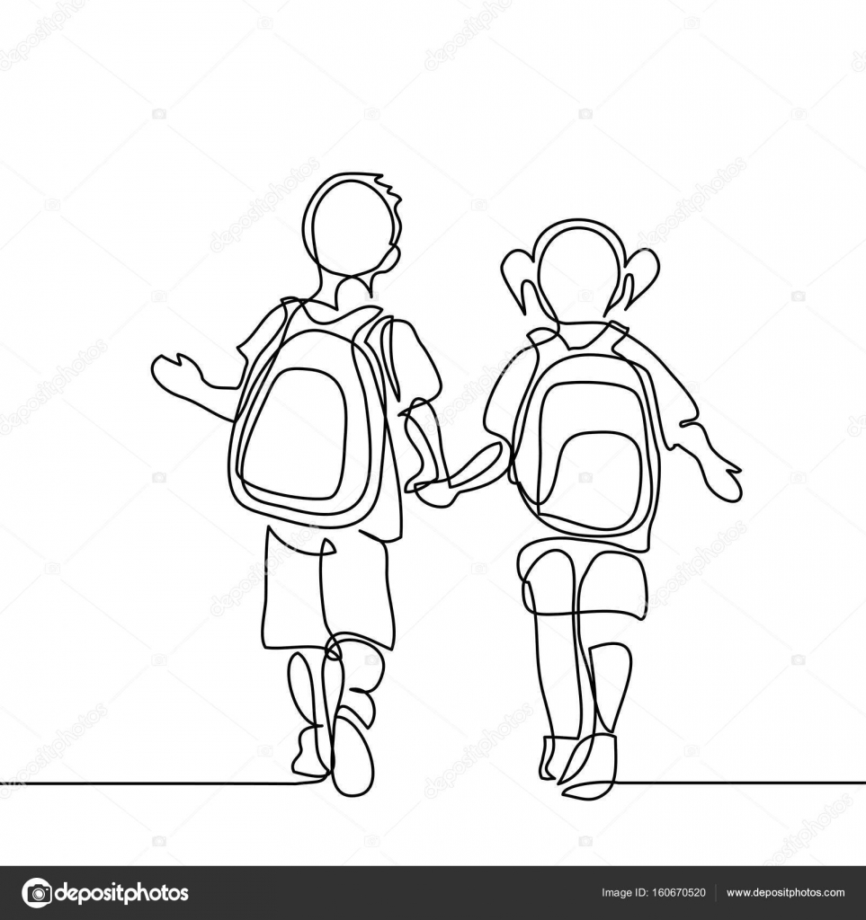 963x1024 Boy And Girl Going Back To School With Bags. Stock Vector