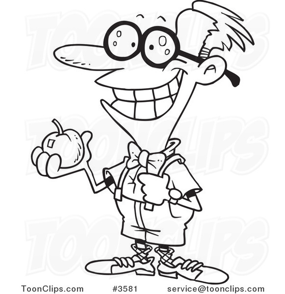 581x600 Cartoon Black And White Line Drawing Of A Nerdy School Boy Holding