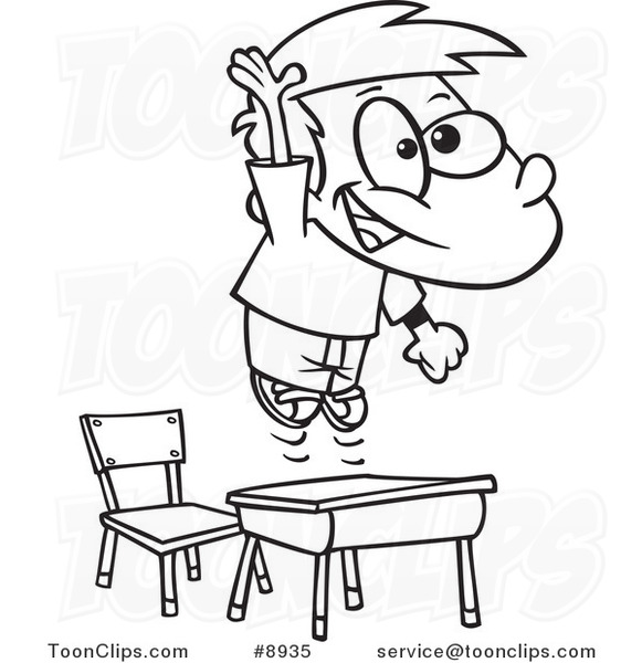 581x600 Cartoon Black And White Line Drawing Of A School Boy Jumping Over