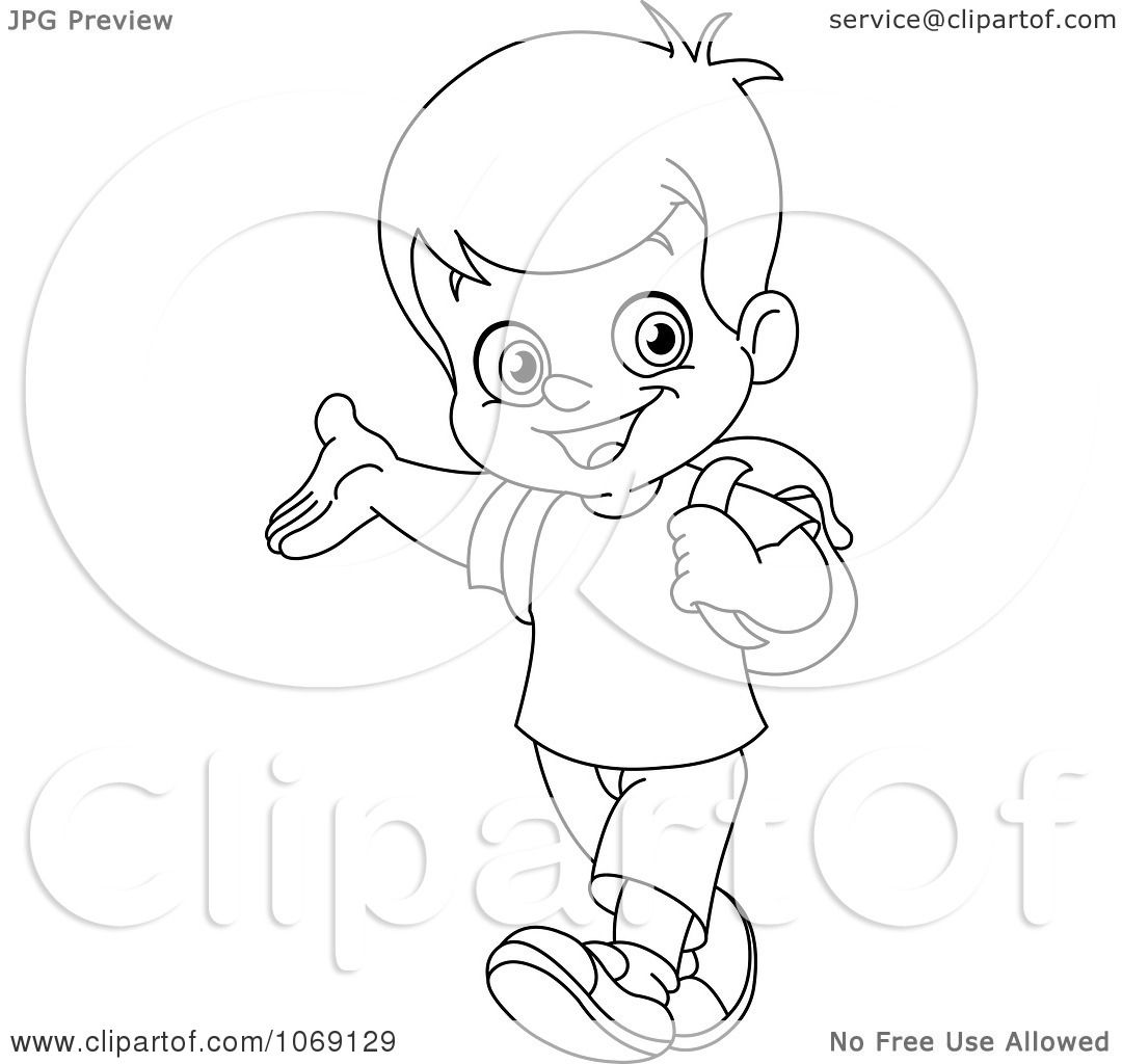 1080x1024 Clipart Outlined School Boy Presenting