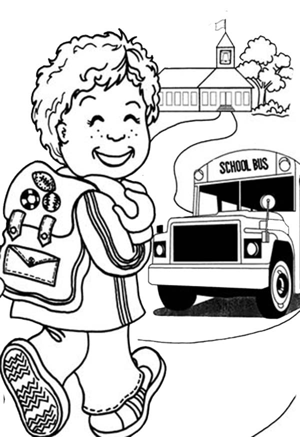 600x874 A Happy Little Boy On First Day Of School Coloring Page