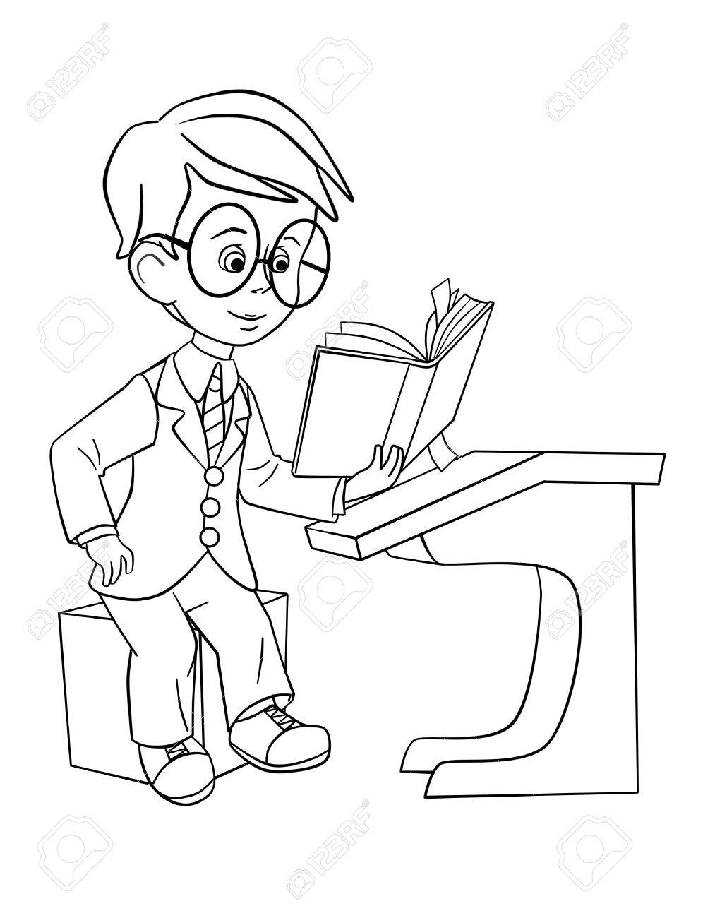 996x1300 Schoolboy In The Glasses Reading Book At The Desk Stock Photo