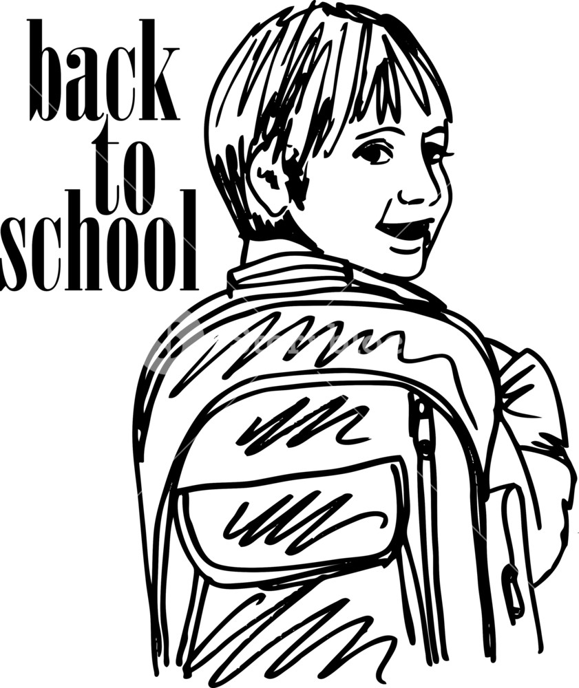 841x1000 Sketch Of School Kid Smiling. Vector Illustration Royalty Free