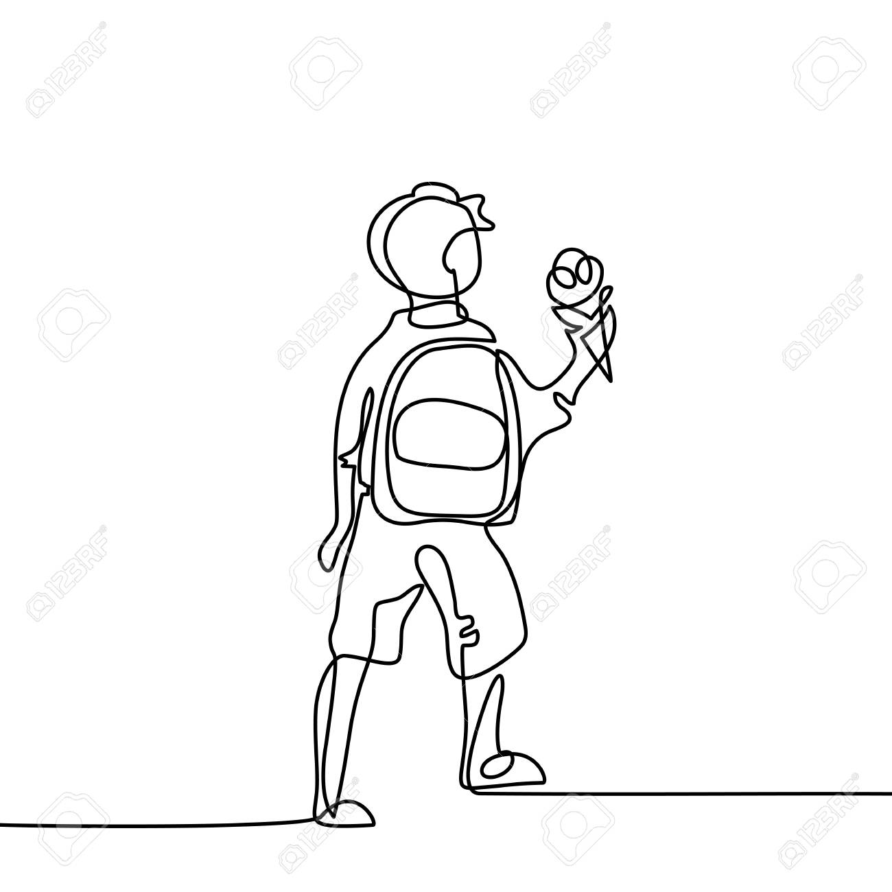 1300x1300 Boy With Ice Cream Going Back To School With Bag. Continuous