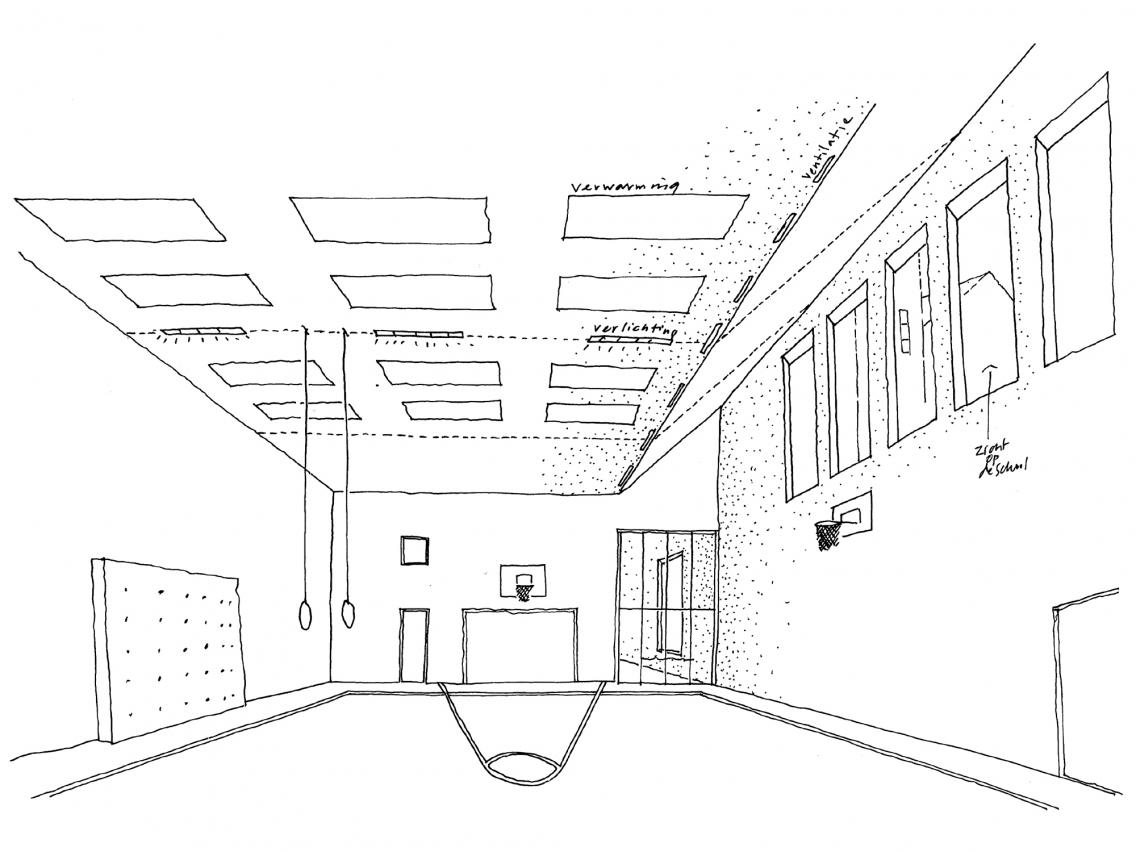 1136x852 Gymzaal Tarwewijk. Sketch Of Interior Of Gymnasium.