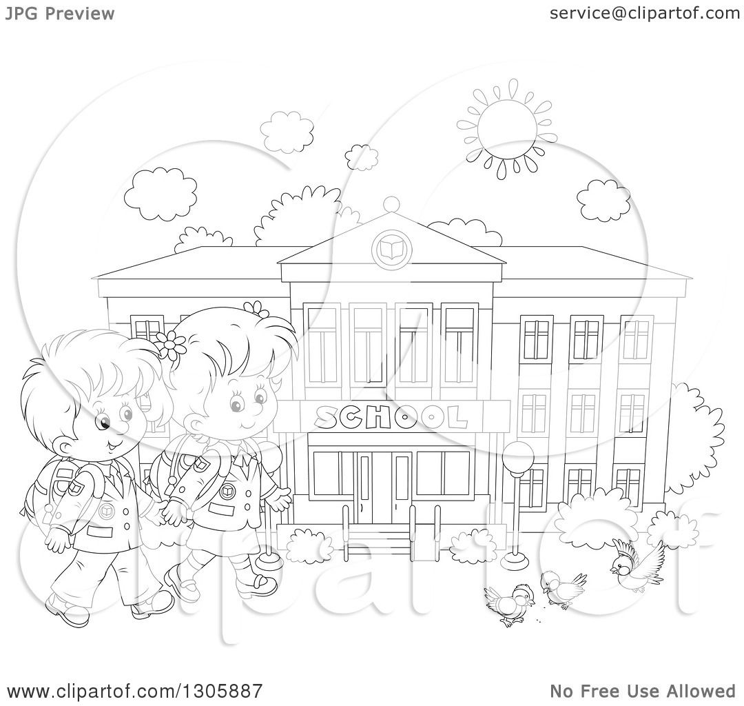 1080x1024 Lineart Clipart Of Black And White Cartoon Happy School Children