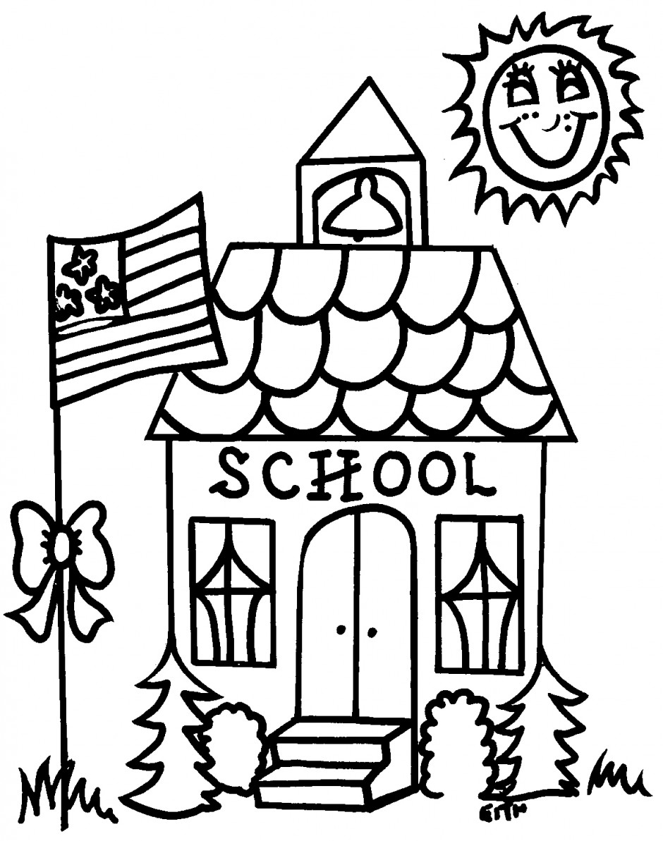 940x1193 School Building Coloring Pages