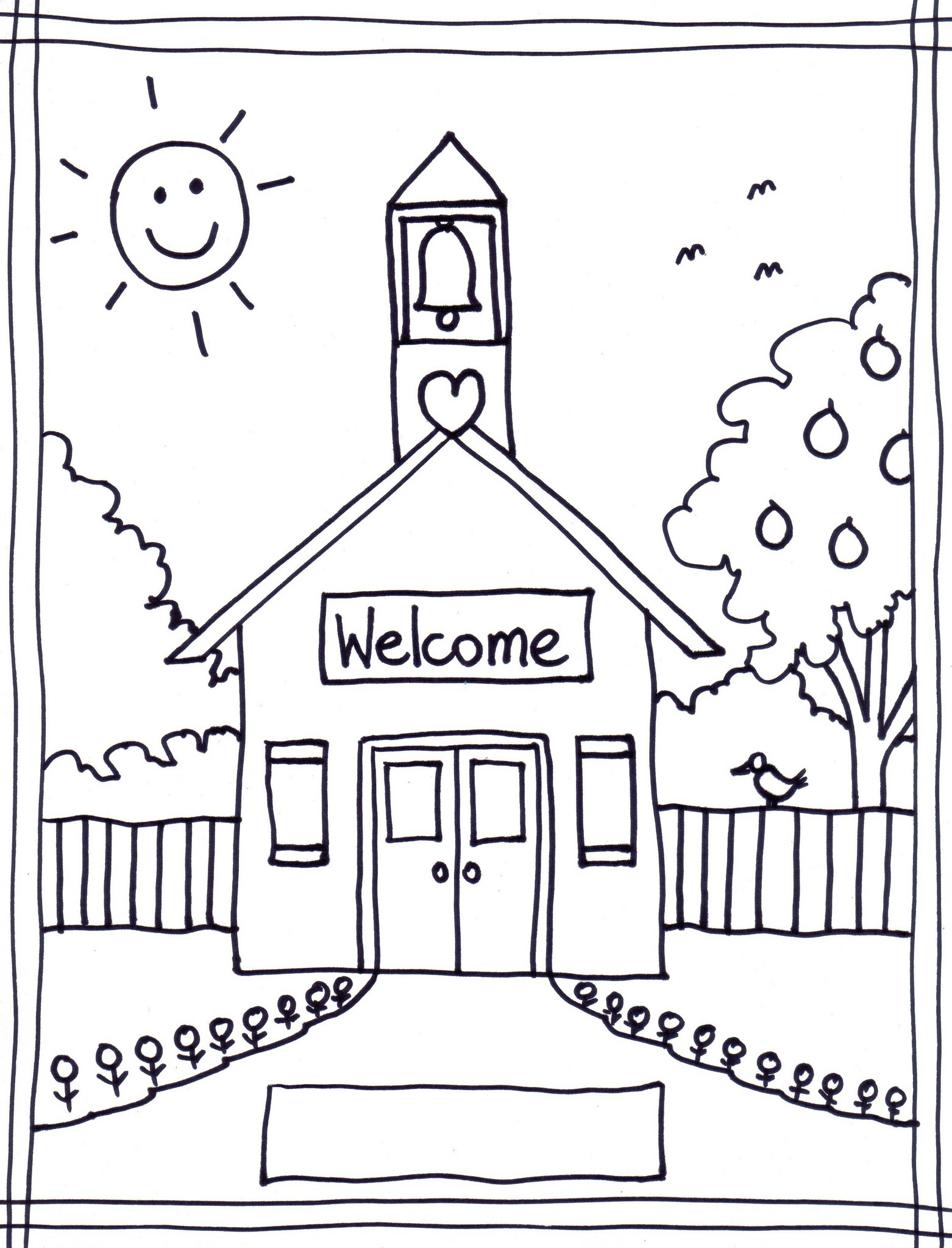 1562x2048 School Building Coloring Pages