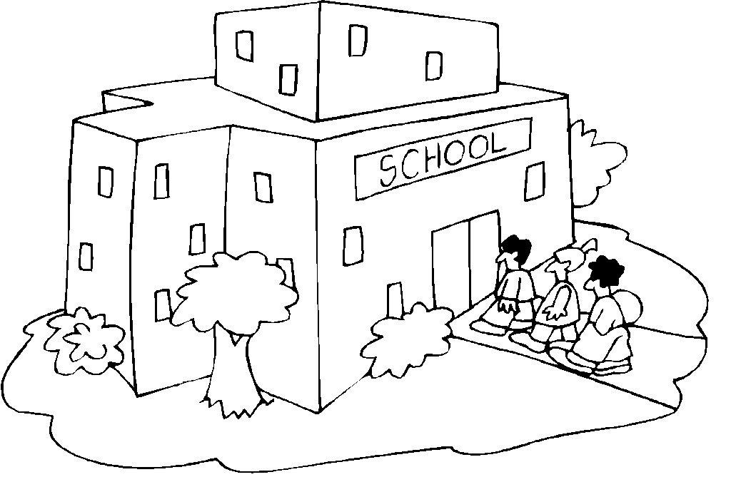 1024x669 School Building Coloring Sheets School Building Coloring Page