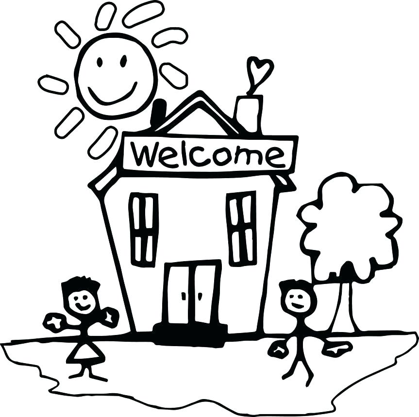 School building drawing at free for for Coloring pages for back to school