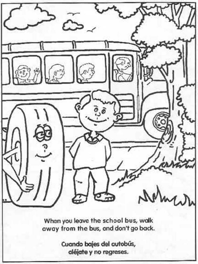 640x850 School Bus Safety Rules Coloring Pages