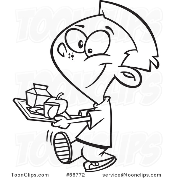 581x600 Cartoon Outline School Boy Carrying A Cafeteria Lunch Tray