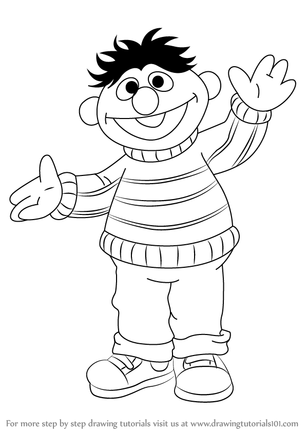 598x844 Learn How To Draw Ernie From Sesame Street (Sesame Street) Step By