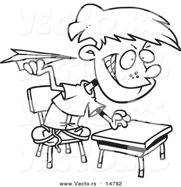 600x620 Vector Of A Cartoon Mischievous School Boy Throwing Paper Planes