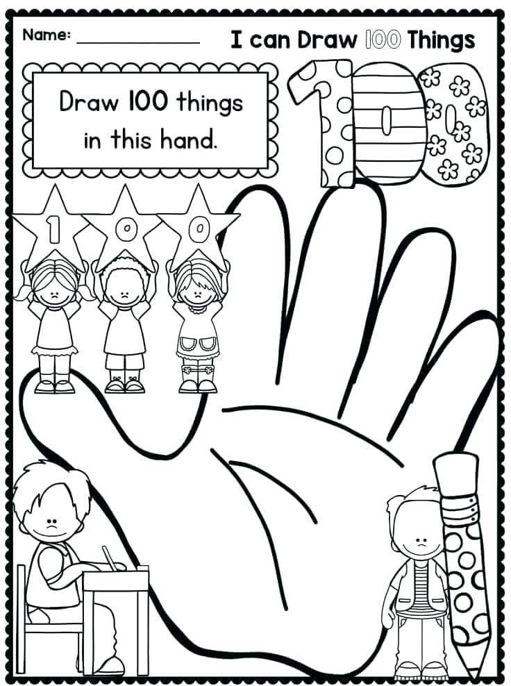 736x988 Picture Day Of School Coloring Pages Free Days 100th Murs