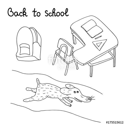 500x500 Back To School Hand Drawn Set. Artistic Sketch. Desk, Backpack
