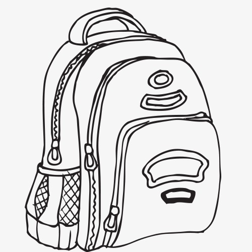 500x500 Learning Materials,desk,learn,textbook,school Bag,pen,line Drawing
