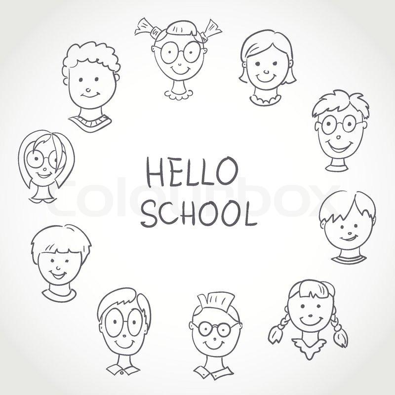 800x800 Hello School. Kids Face Set Sketch Stock Vector Colourbox