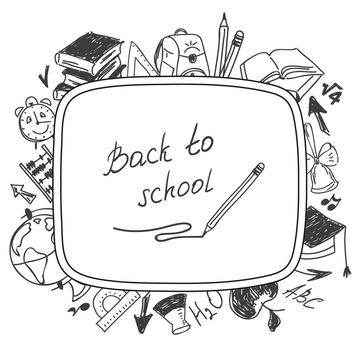 1212x1216 Pencil Sketch Back To School Illustration