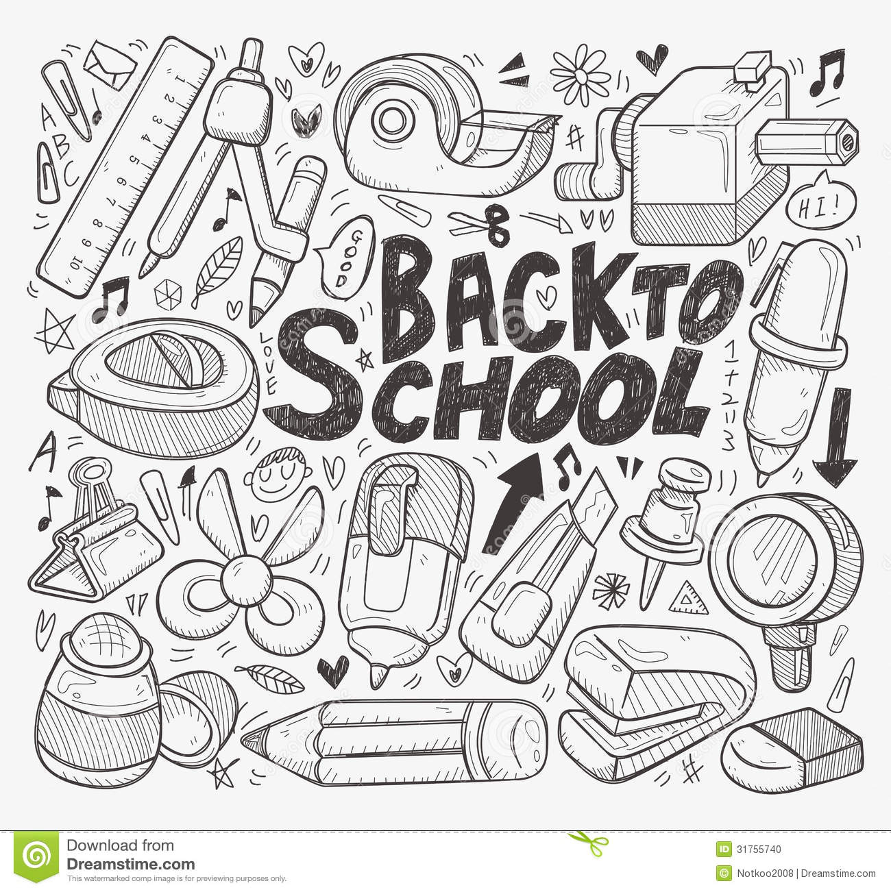 1300x1302 Back To School Drawings How To Draw Back To School Supplies