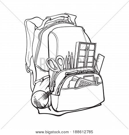 450x470 Backpack Packed School Items, Vector Amp Photo Bigstock