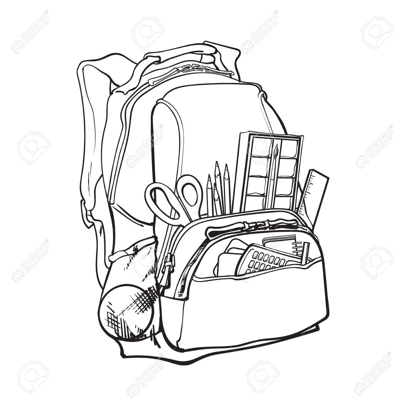 1300x1300 Backpack Packed With School Items, Supplies, Black And White
