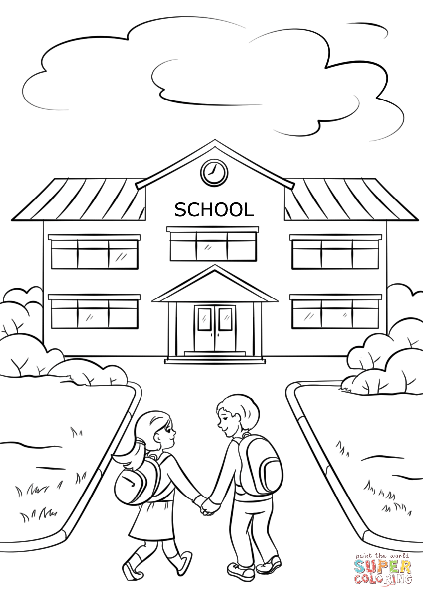 849x1200 Boy And Girl Going To School Coloring Page Free Printable