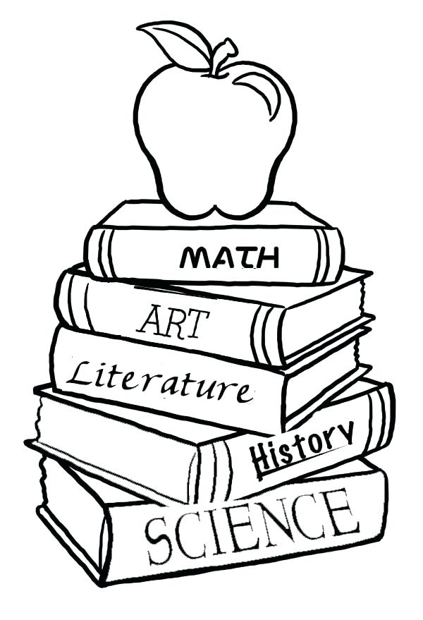 600x879 Coloring Pages Books A Pile School Books For The First Day