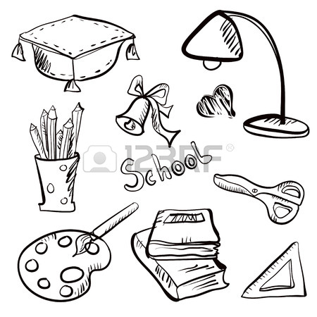 450x450 Back To School Icon Cartoon Art Drawing Set Isolated On A White