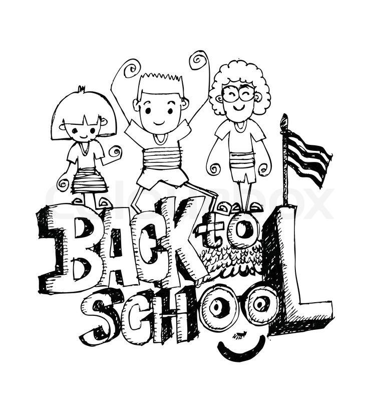 775x800 Cartoon Cute Doodles Hand Drawn School Frame Design. Line Art