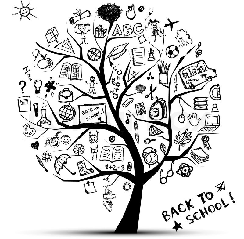 800x783 Tree Of Knowledge, Concept Of School For Your Design Stock