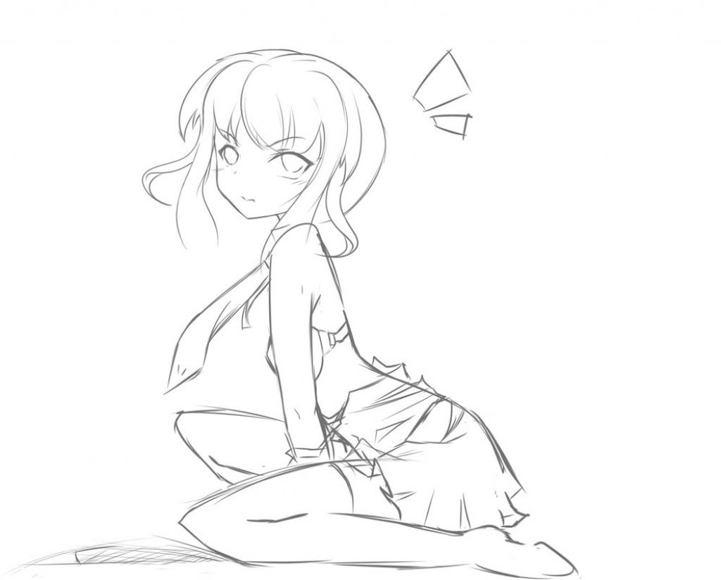 1024x824 Cute Anime Girl Full Body Sketch Anime Girl Sketch Full Body