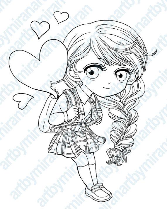 570x713 Digital Stamp School Girl Digi Stamp Coloring Page
