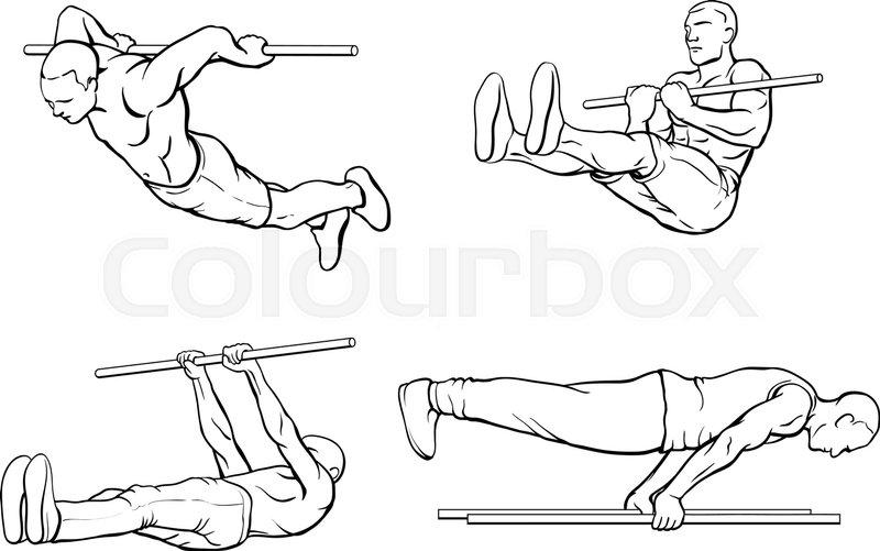 800x501 Set Of Street Workout And Calisthenic Exercises On Gym Bar Stock