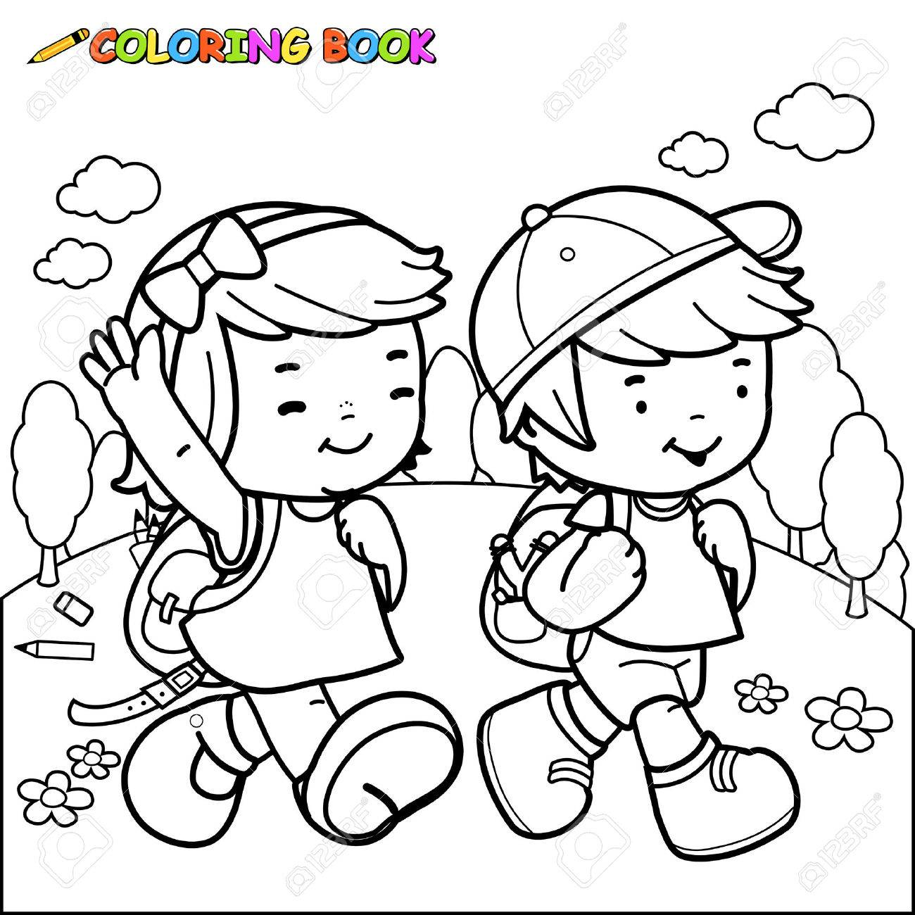 1300x1300 Children Walk To School. Coloring Book Page Royalty Free Cliparts