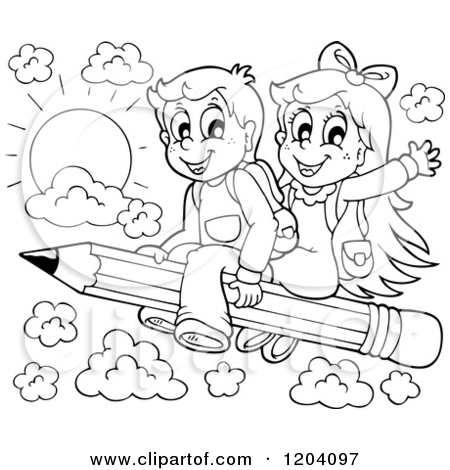 450x470 Cartoon Of Black And White Happy School Children Flying On A