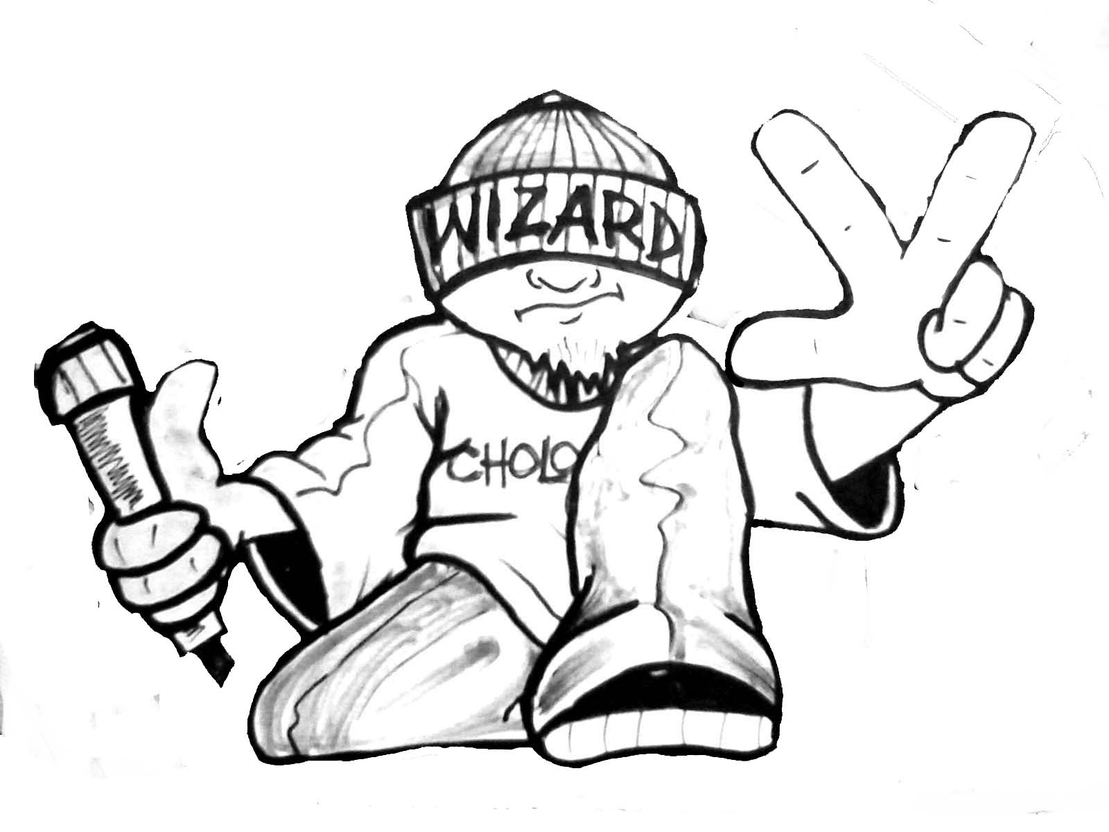 1600x1200 Wizard School Graffiti Drawing A Cholo Character (By Wizard